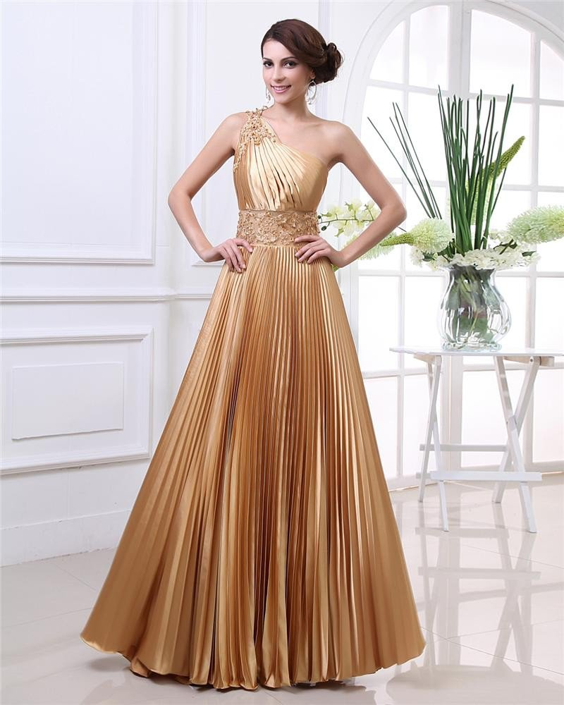 Empire One-Shoulder Sweep Floor Length Satin Prom Dress