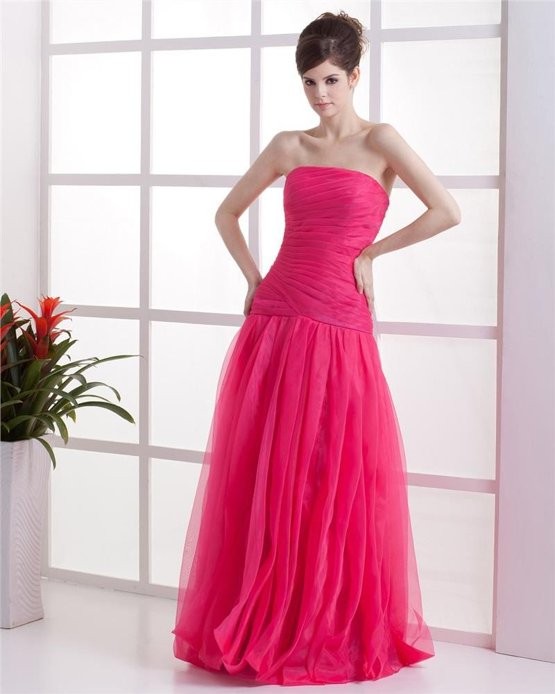 Strapless Ruffle Sleeveless Zipper Floor Length Organza Woman Prom Dress