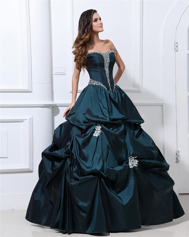 Ball Gown Taffeta Beading Ruffle Applique Shoulder Straps Ankle Length Quinceanera Prom Dresses