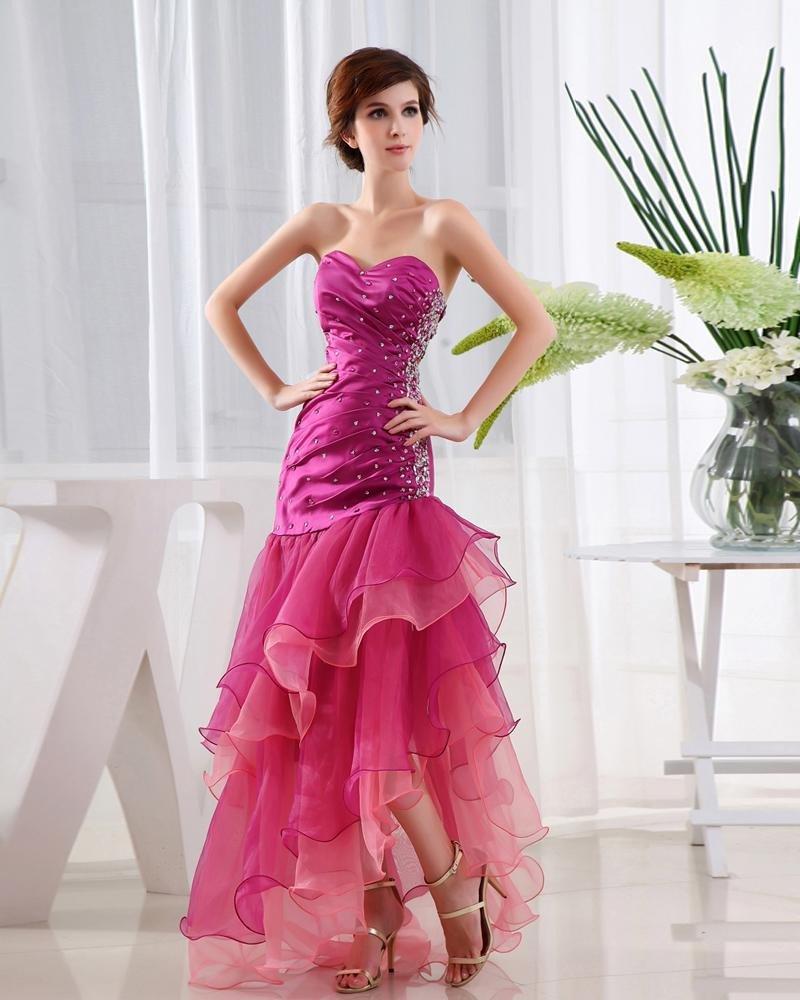 Organza Satin Beading Ruffle Sweetheart Sleeveless Backless Asymmetrical Tiered Prom Dress