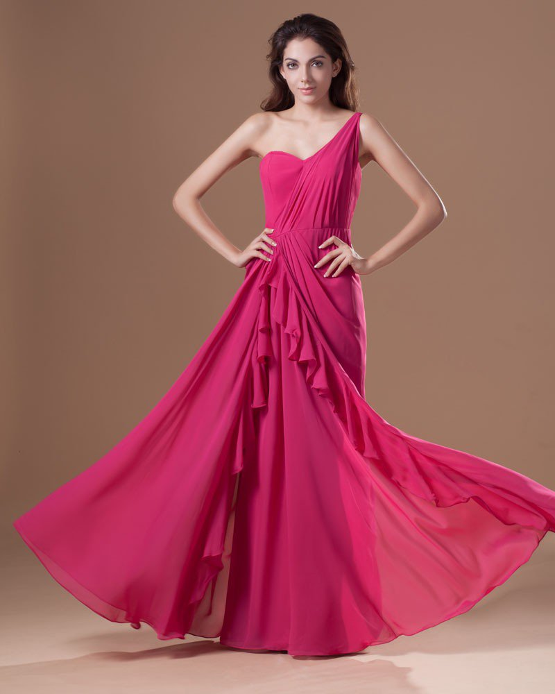 Chiffon Ruffle One Shoulder Floor Length Pleated Prom Dress