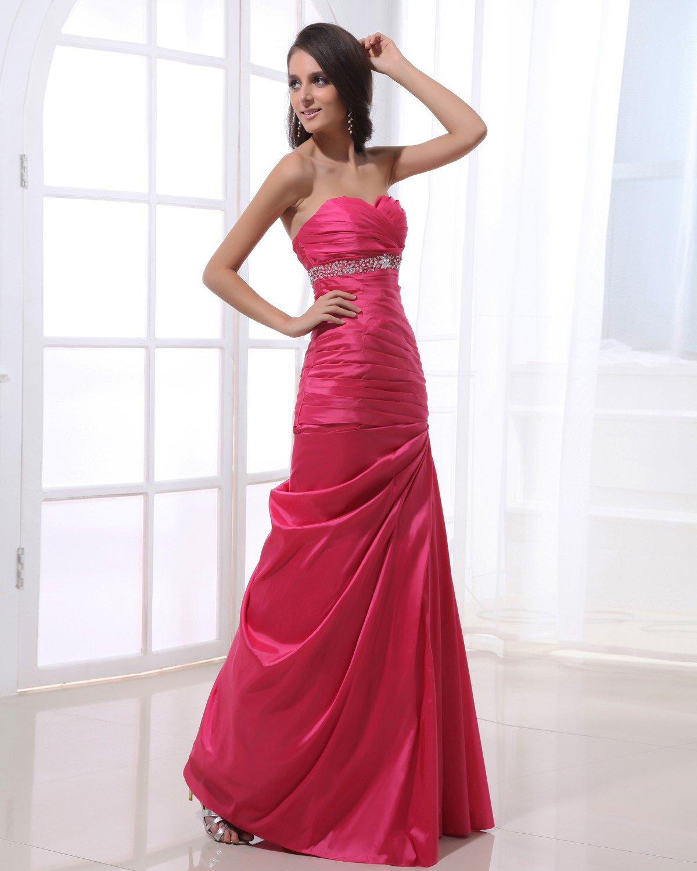 Floor Length Strapless Neckline Beading Pleated Taffeta Empire Woman Prom Dress