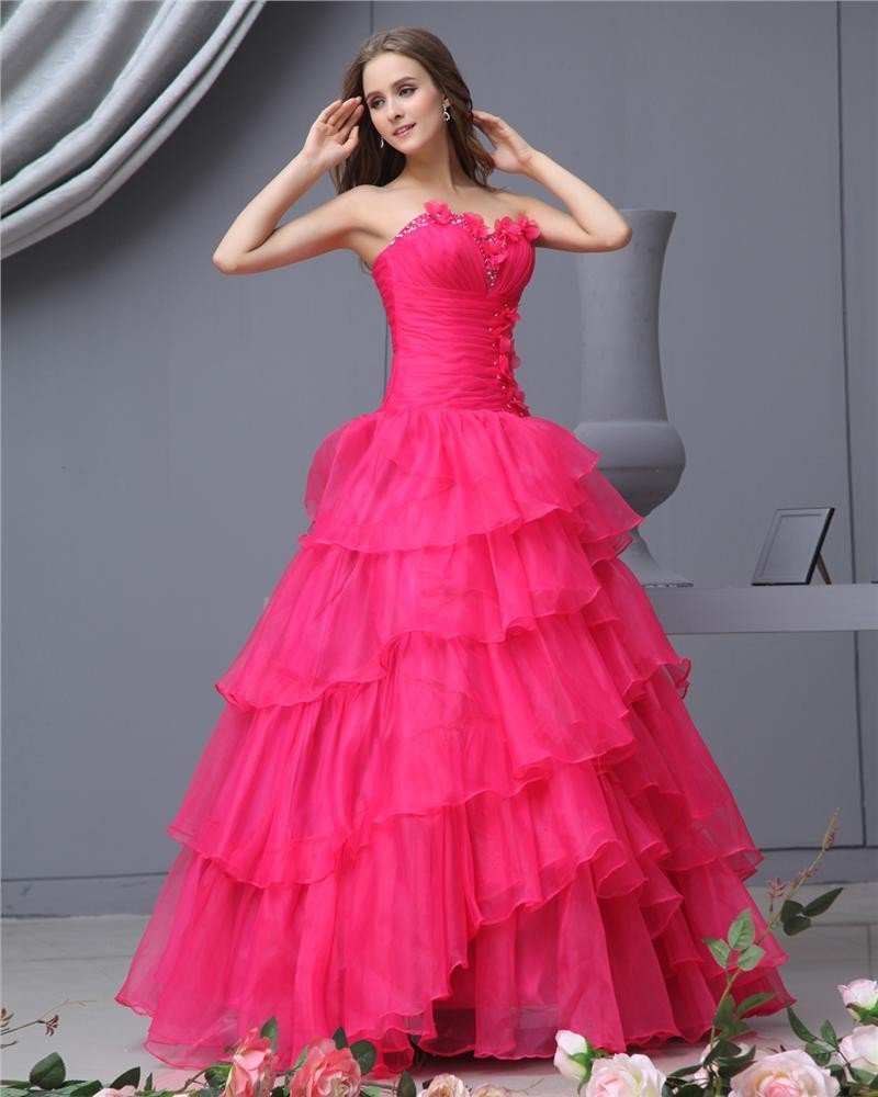 Ball Gown Organza Sweetheart Applique Bead Handmade Flower Floor Length Quinceanera Prom Dresses