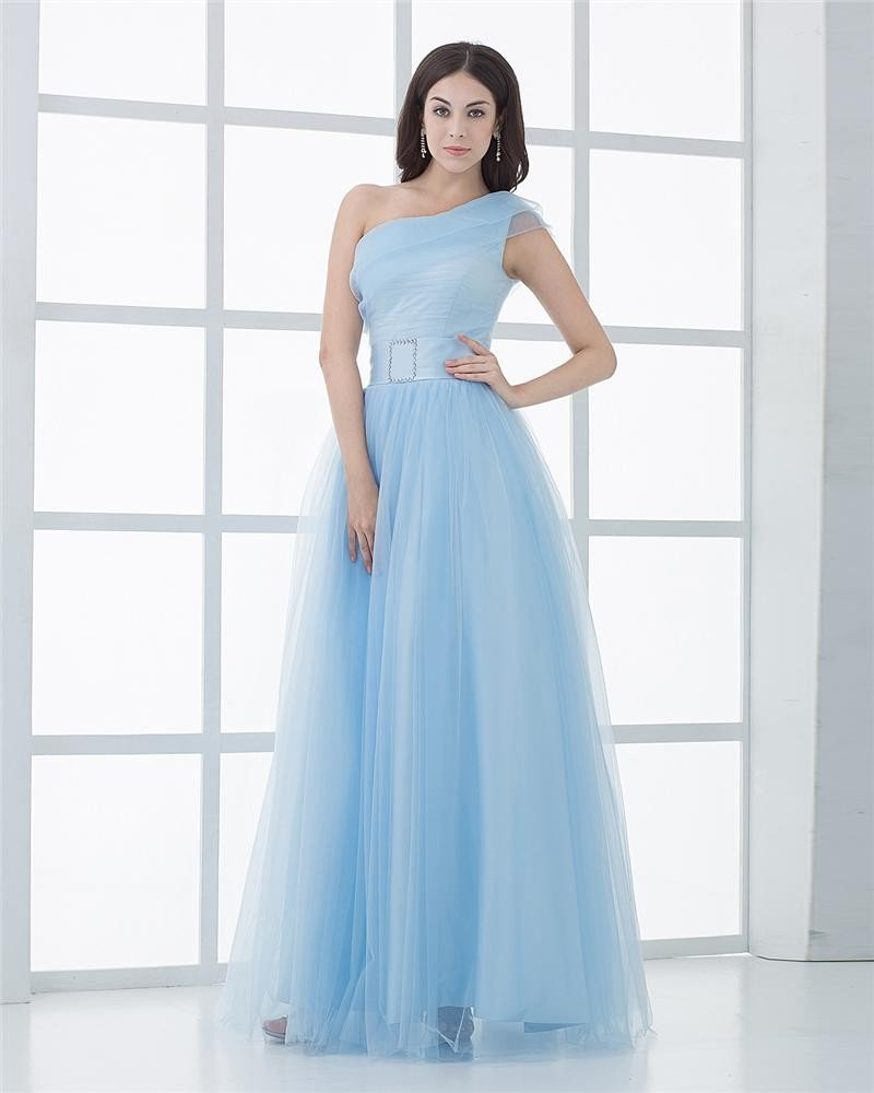 Ball Gown Silk Yarn Ruffle One Shoulder Floor Length Quinceanera Prom Dress