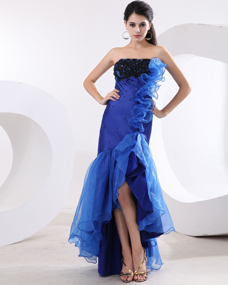 Ruffle Edge Sequin Fishtail blue Prom Dress