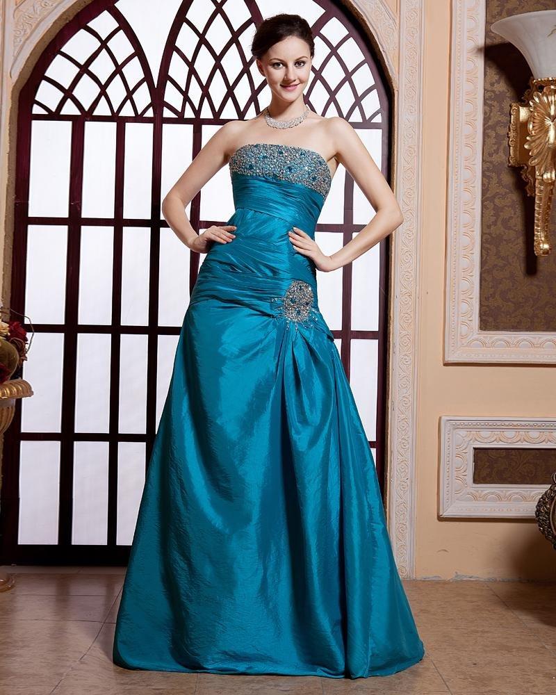 Stylish Ruffle Floor Length Beading Sleeveless Strapless Zipper Taffeta Prom Dresses