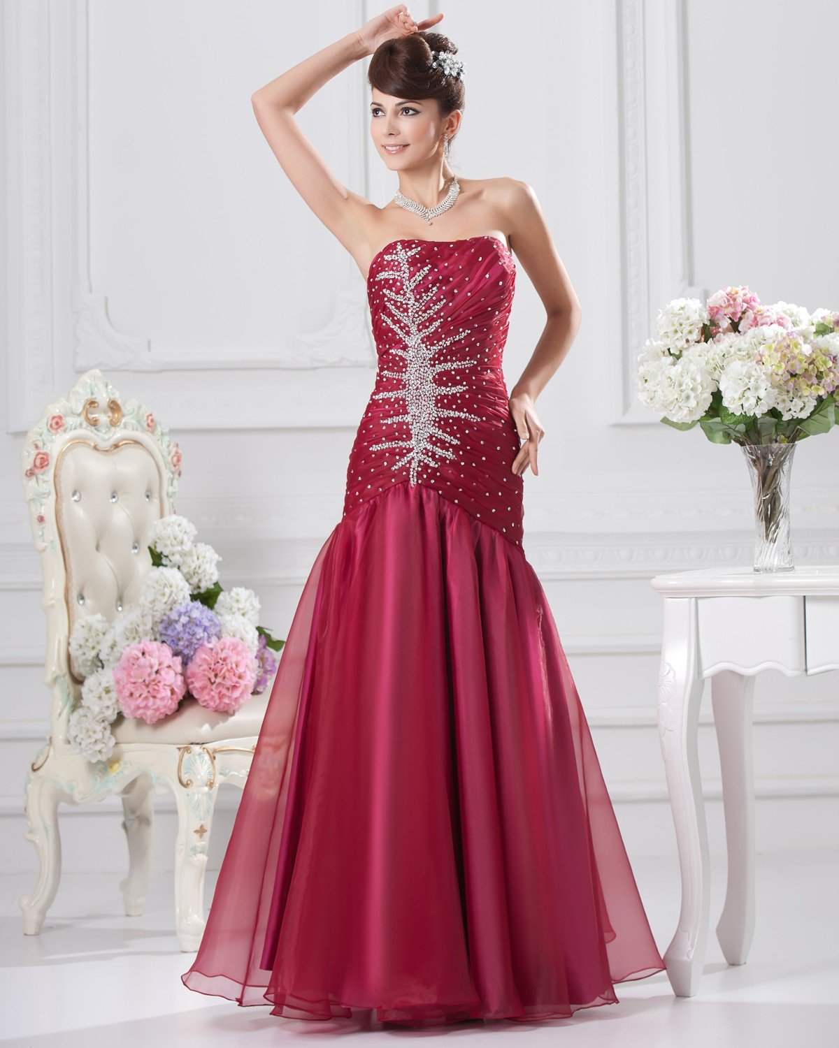 A-Line Strapless Floor-length Organza Beading Prom Party Prom Dress