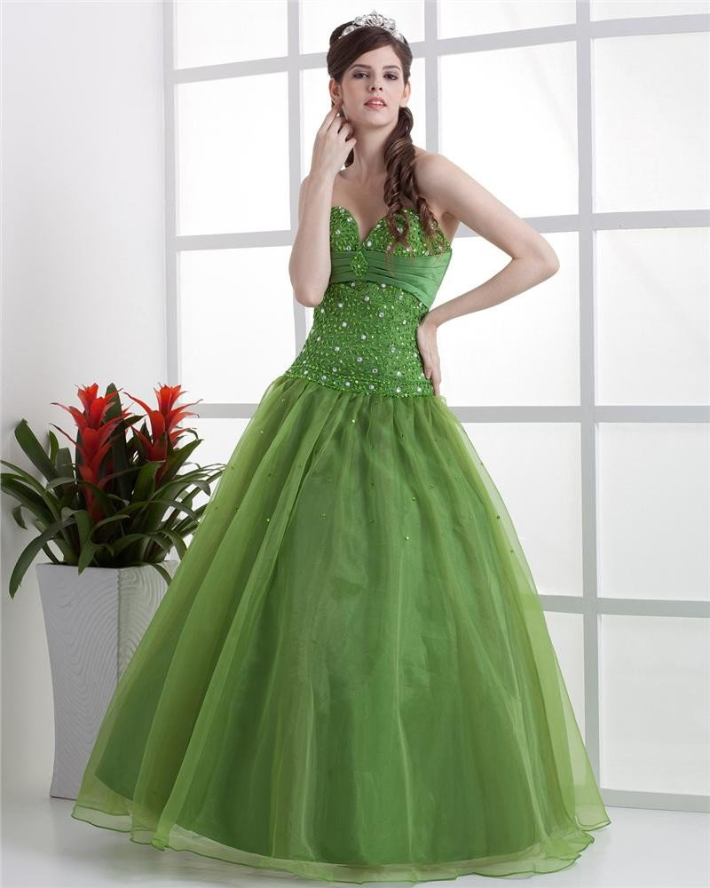 Ball Gown Satin Yarn Beading Ruffle Sweetheart Floor Length Quinceanera Prom Dress