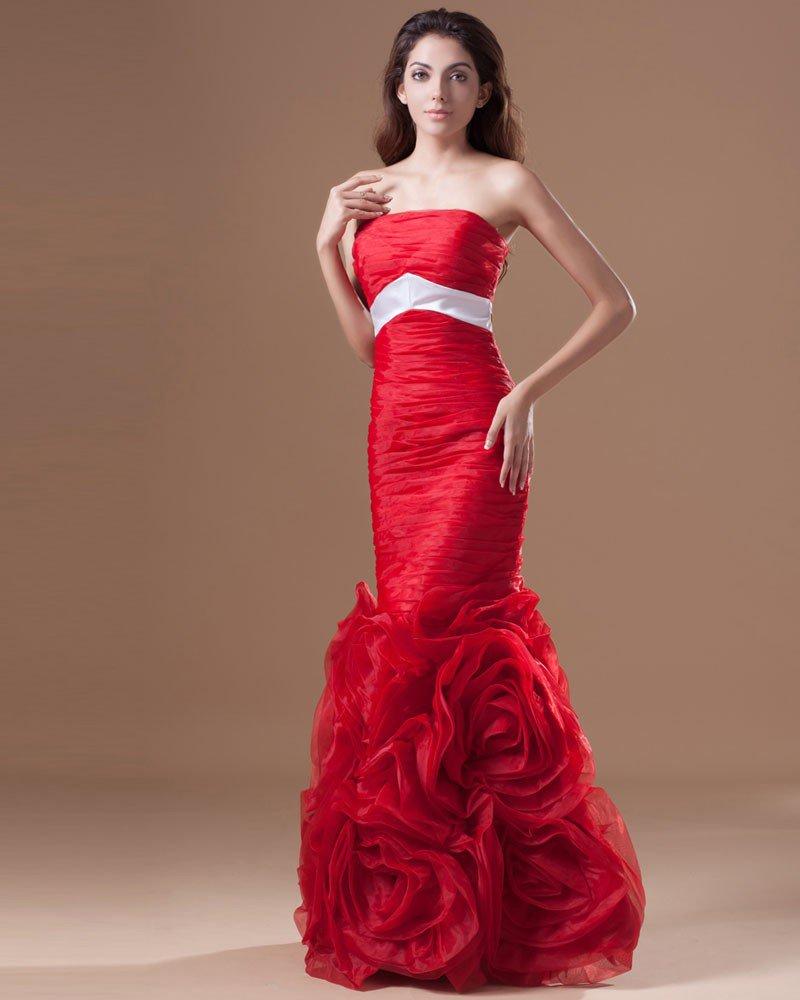 Organza Ruffle Flower Strapless Floor Length Prom Dress