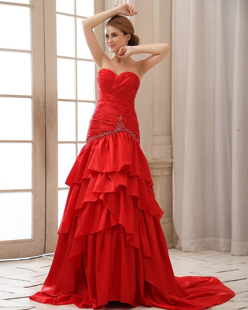 Ruffle Sequins Sweetheart Neckline Lace Up Back Taffeta Women Prom Dress