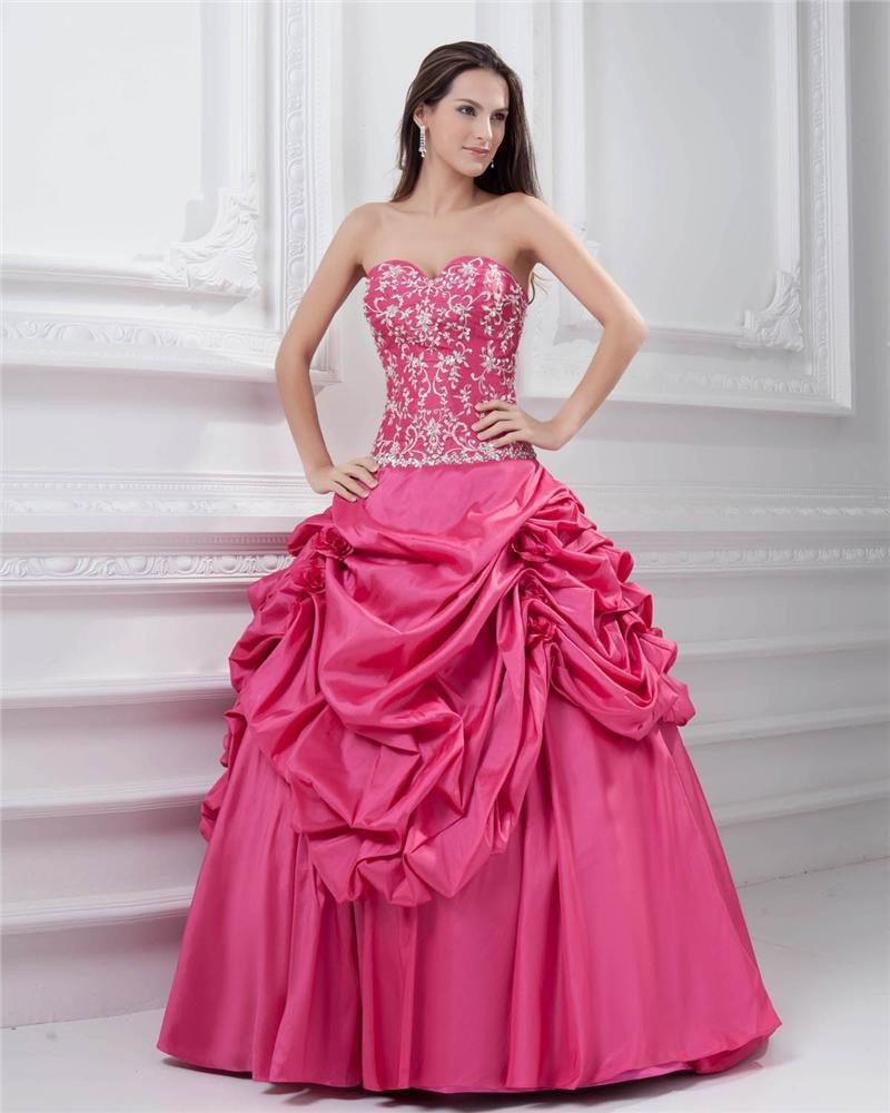 Ball Gown Sleeveless Taffeta Ruffles Applique Embroidery Sweetheart Floor Length Quinceanera Prom Dr
