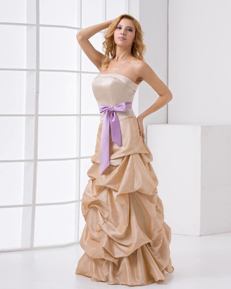 Fashion Taffeta Ruffle Bowknot Strapless Sleeveless Floor Length Prom Dress