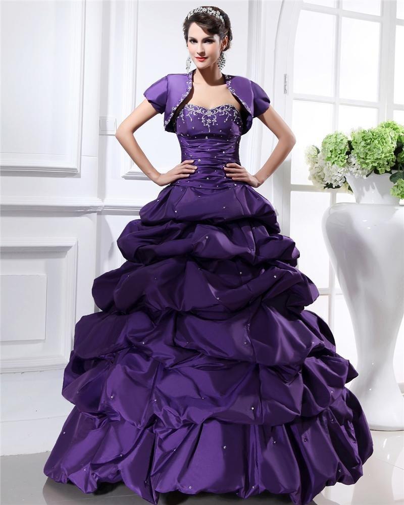 Ball Gown Taffeta Ruffle Sweetheart Floor Length Quinceanera Prom Dress