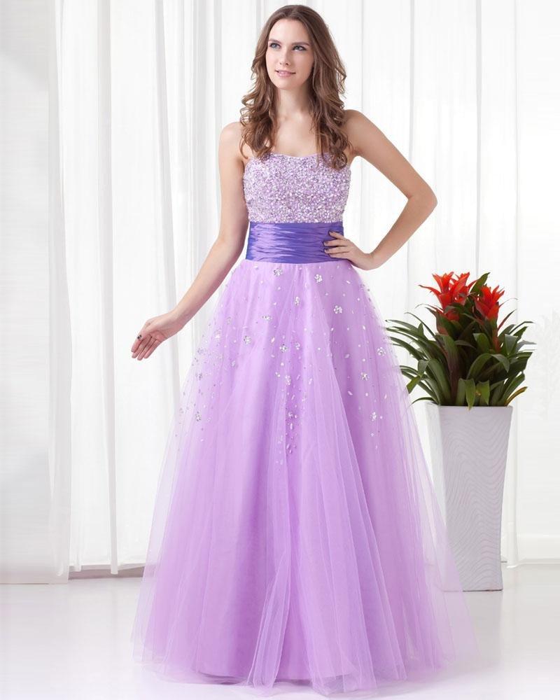 Sweetheart Floor Length Beading Tulle Woman Prom Dress