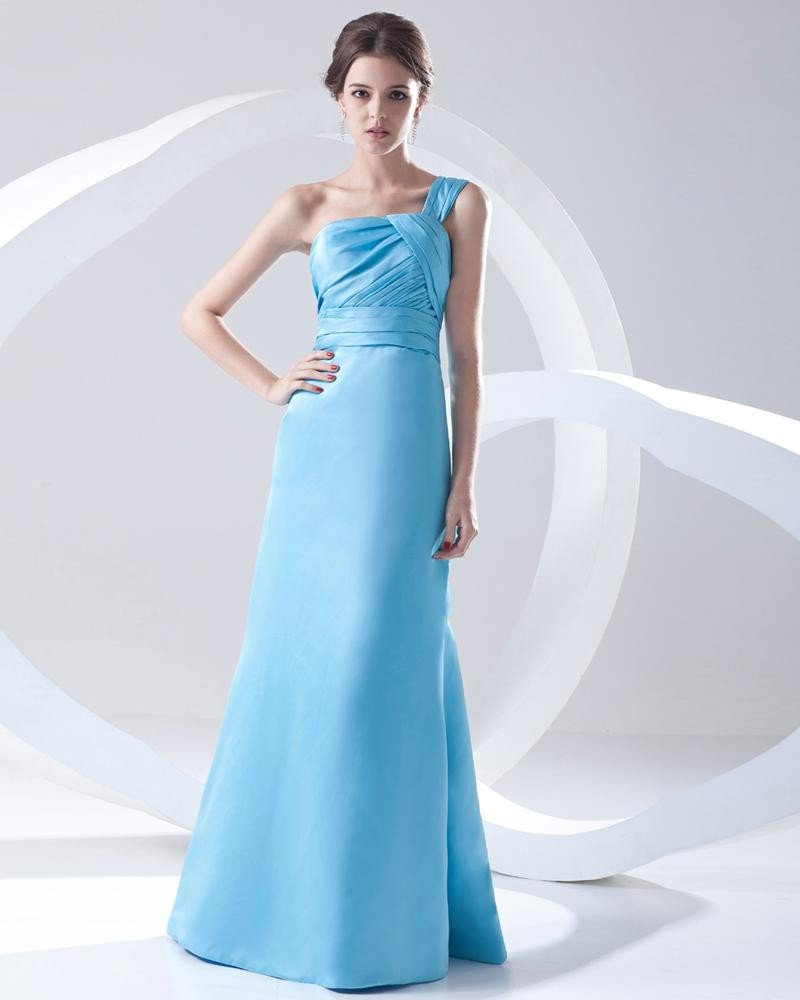Fashion Satin Pleated One Shoulder Sleeveless Floor Length Prom Dress