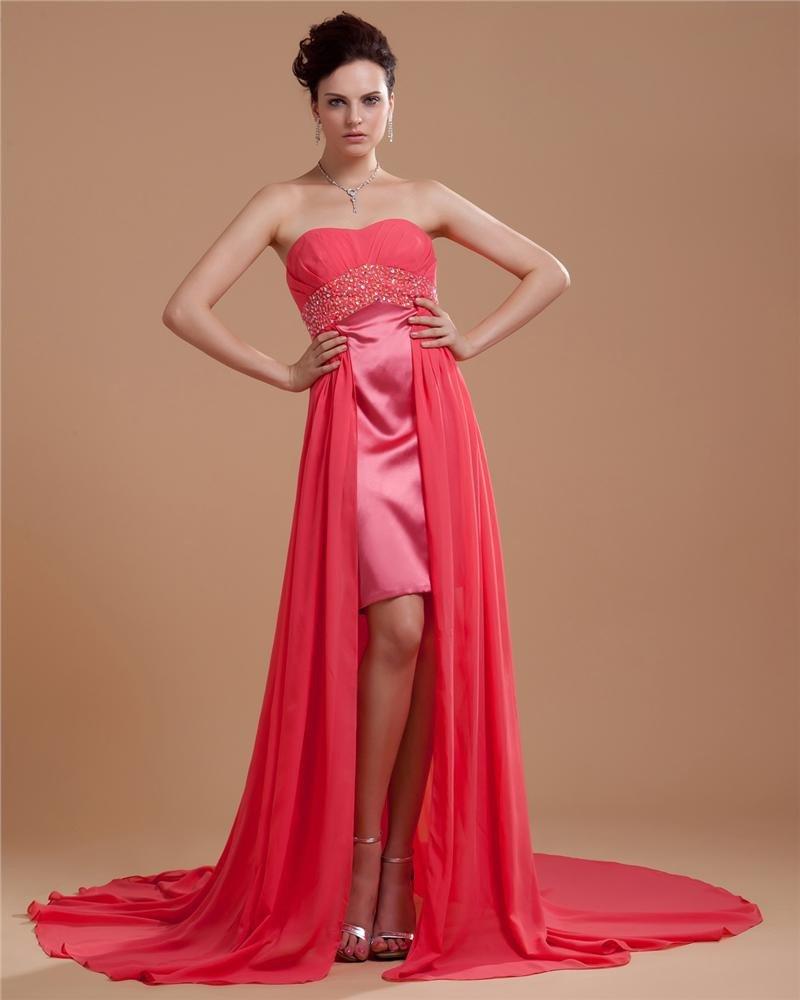 Satin Chiffon Beading Embroidery Sweetheart Asymmetrical A-Line Prom Dresses