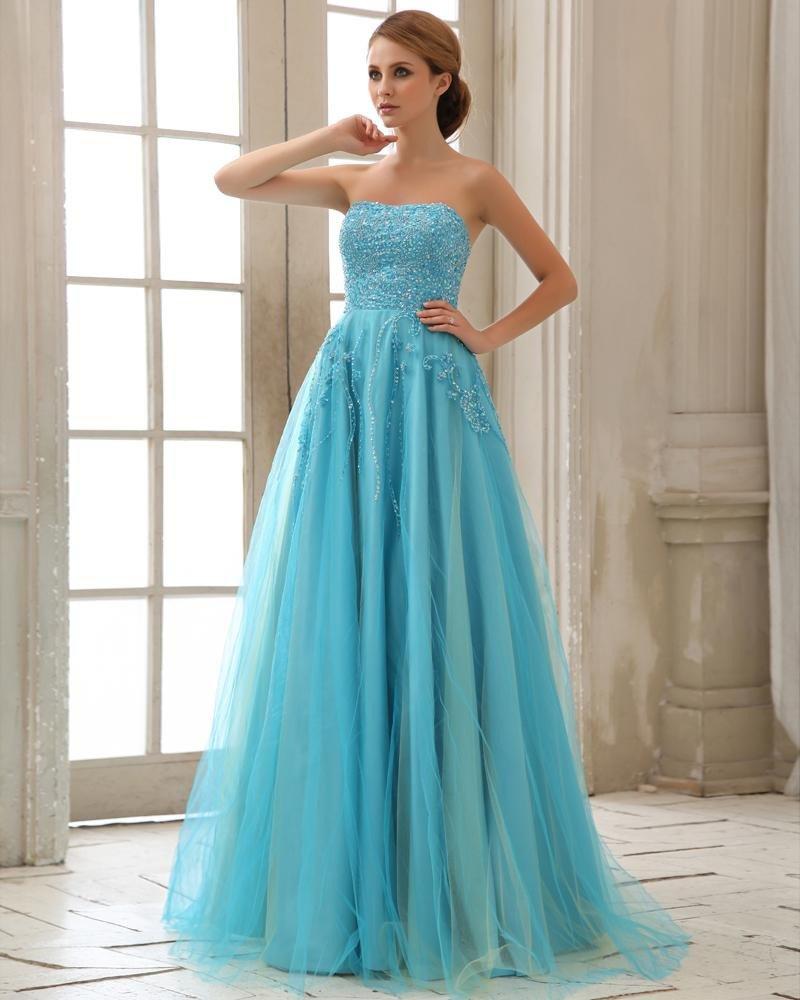Stylish Ruffle Sequin Beading Floor Length Strapless Sateen Gauze Prom Dresses