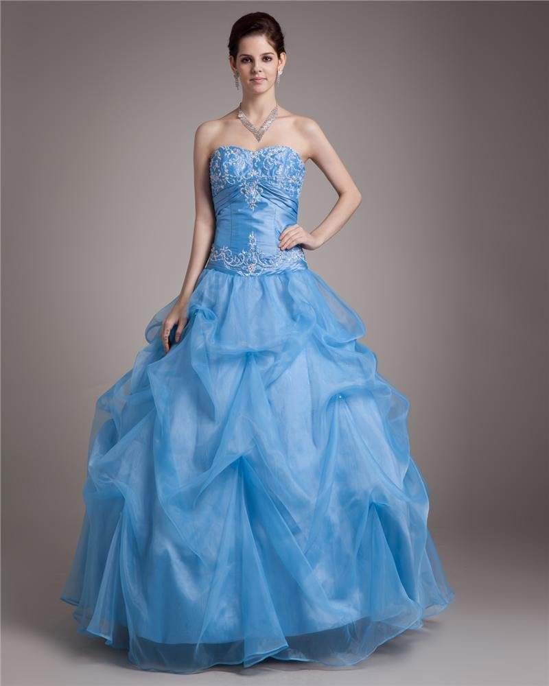 Ball Gown Floor Length Sweetheart Embroidery Paillette Pleated Satin Yarn Women Quinceanera Prom Dre