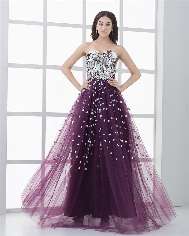 A-line Tulle Sequin Beading Ruffle Sweetheart Floor Length Prom Dress