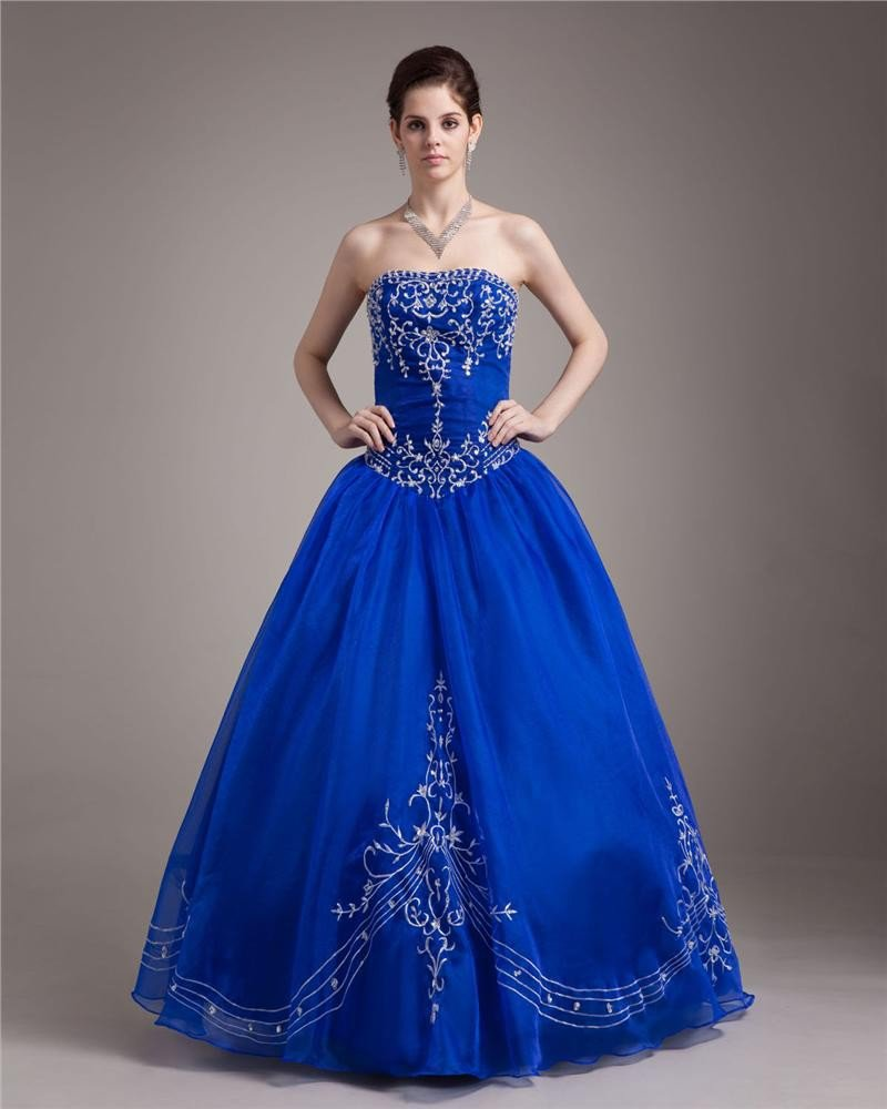 Ball Gown Yarn Pleated Beading Applique Strapless Floor Length Quinceanera Prom Dresses