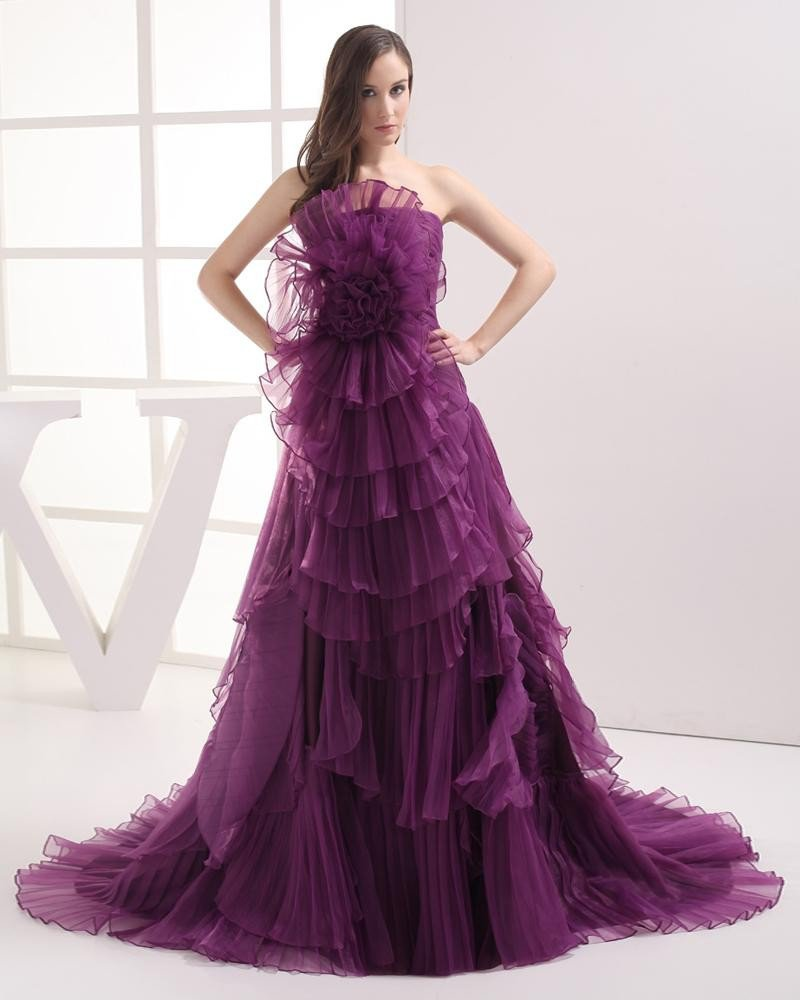Fashion Organza Satin Flower Pleated Strapless Floor Length Celebrity Prom Dress