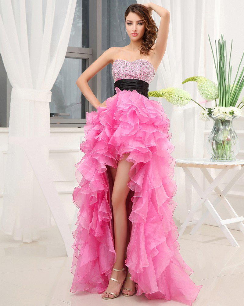 Sweetheart Neckline Sleeveless Asymmetrical Length Beading Ruffles Silk Woman High Low Prom Dress