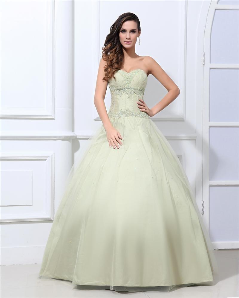 Ball Gown Taffeta Beading Floor Length Quinceanera Prom Dresses