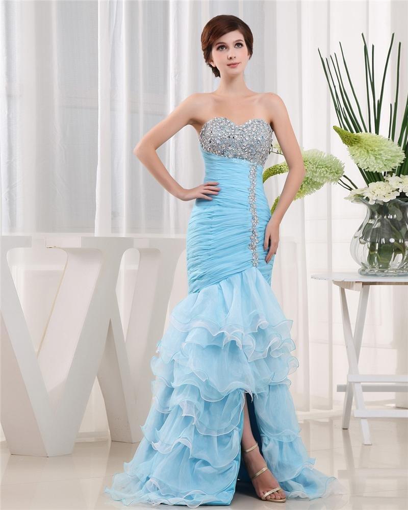 Sweetheart Lace Up Sleeveless Beading Asymmetrical Organza Woman Prom Dress