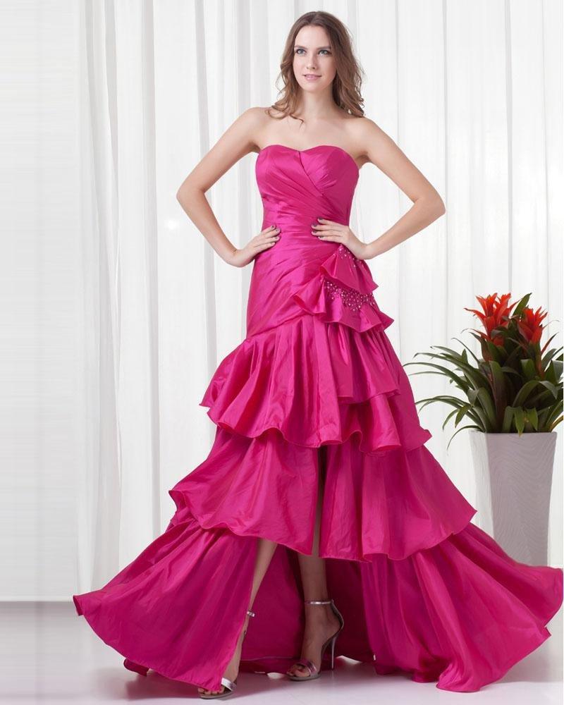 Sweetheart Floor Length Pleated Taffeta Woman Prom Dress