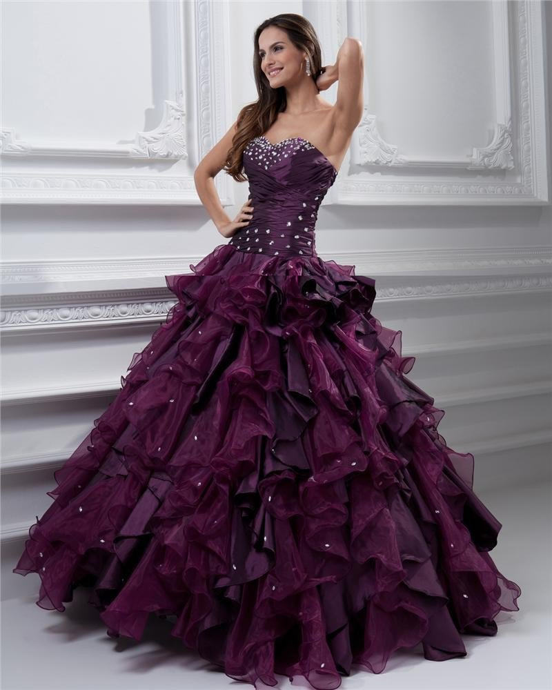 Ball Gown Sweetheart Beading Ruffle Floor Length Taffeta Organza Quinceanera Prom Dress