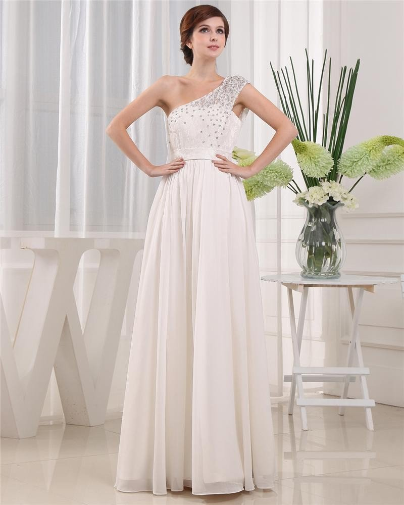 One Shoulder Beading Sleeveless Floor Length Chiffon Woman Prom Dress