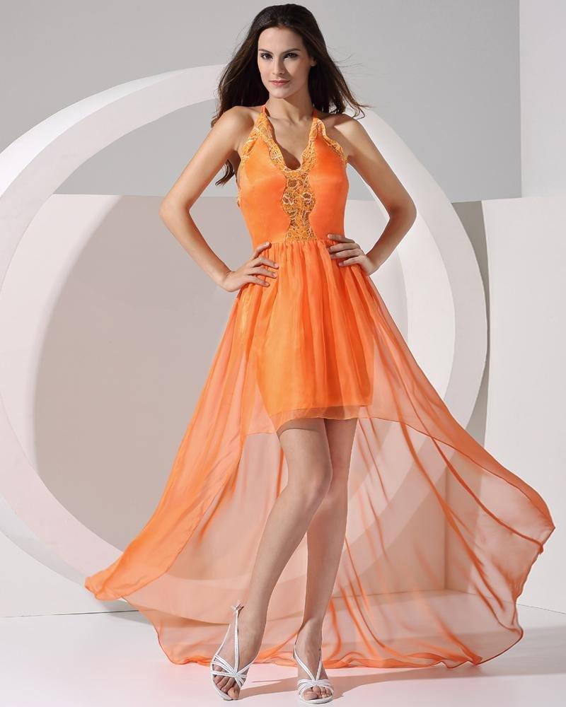 Stylish Solid Elastic Silk Like Satin Chiffon Silk Spaghetti Straps Sleeveless Backless Floor Length