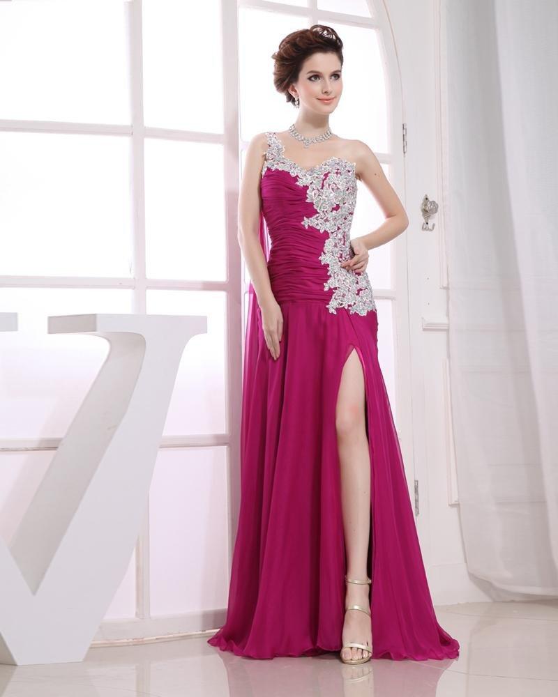 Chiffon Beading Slopping Ruffle Sleeveless Zipper Floor Length Pleated Slit Prom Dress