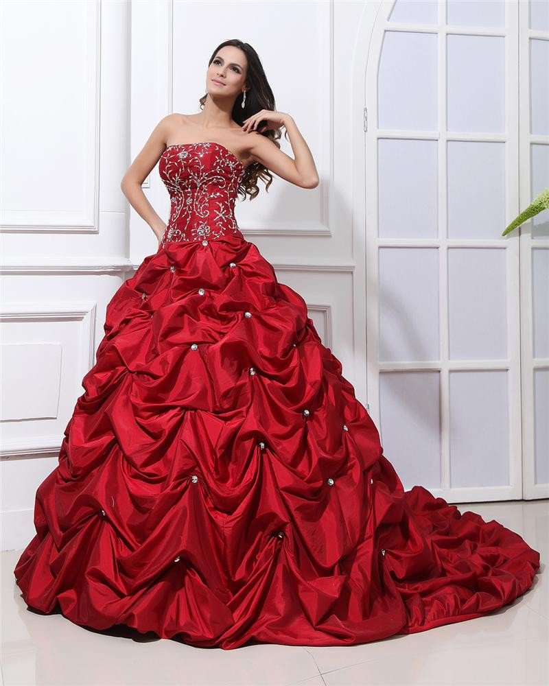 Ball Gown Satin Applique Beads Ruffles Strapless Floor Length Quinceanera Prom Dresses