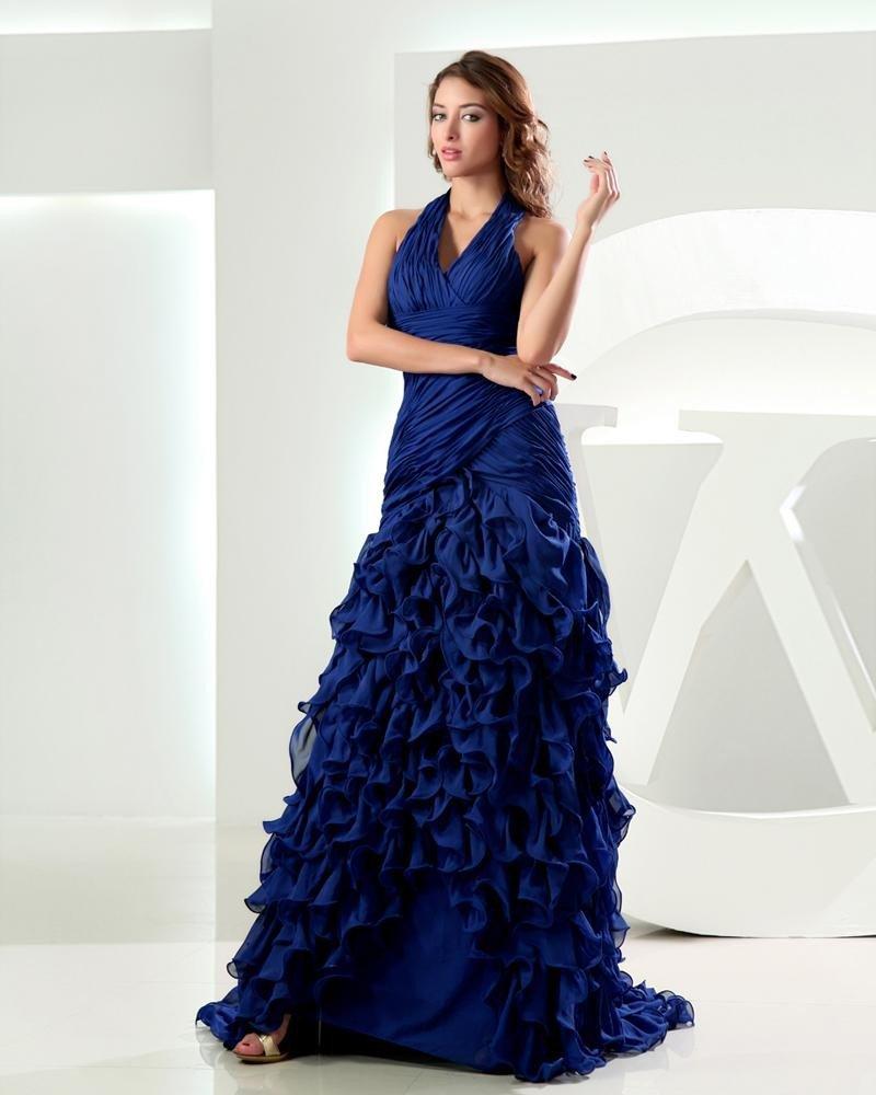 Halter Pleated Lotus Leaf Hem Sleeveless Zipper Floor Length Chiffon Woman Prom Dress
