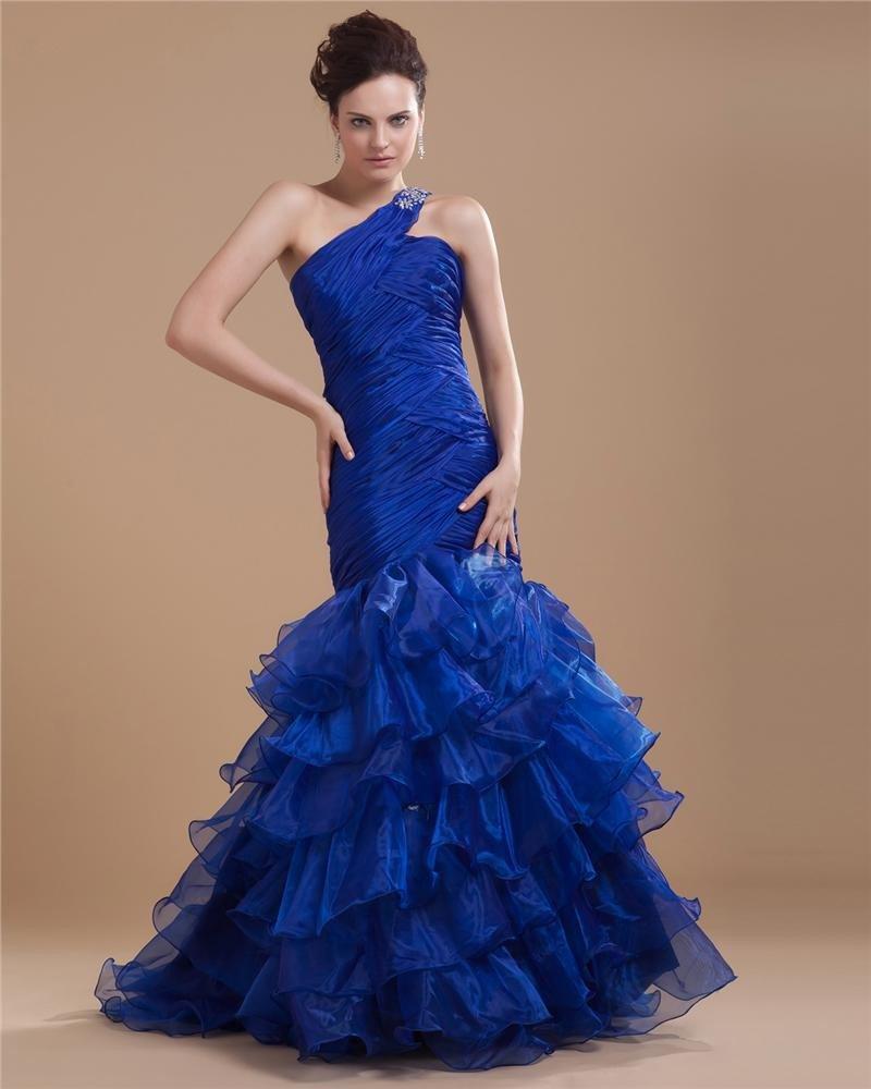 Organza Satin Beading Ruffle One Shoulder Floor Length Prom Dresses