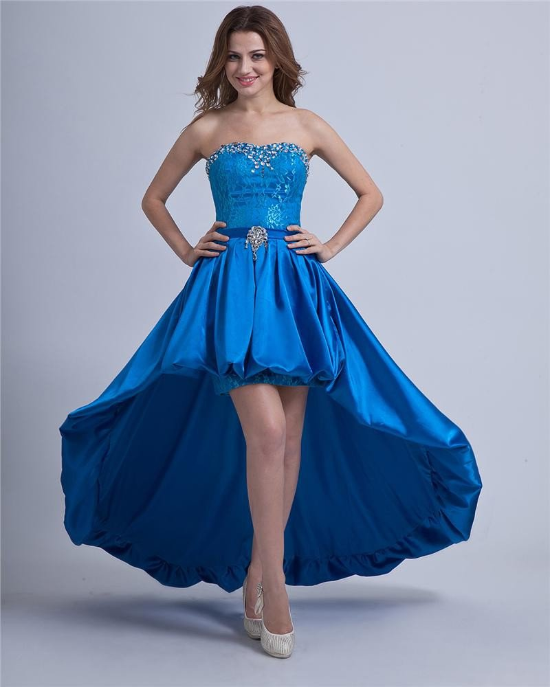 Taffeta Ruffle Strapless Layered Prom Dresses
