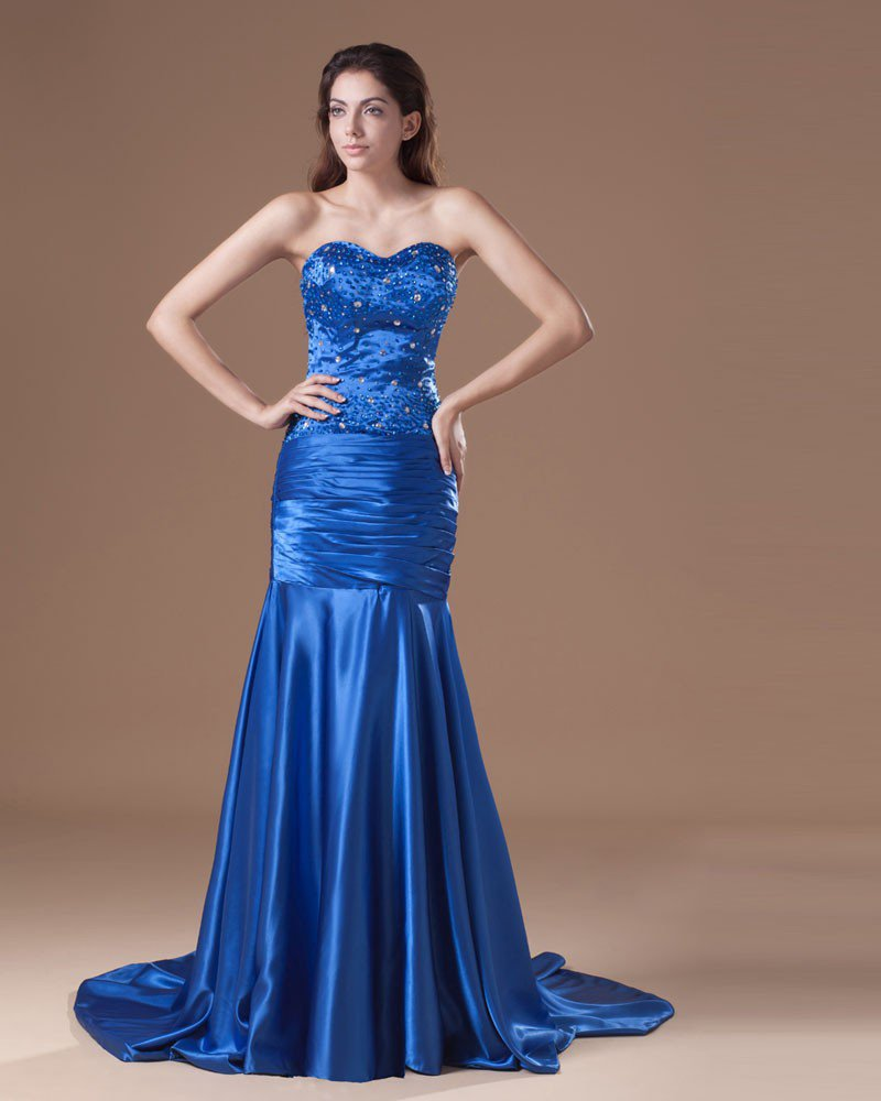 Charmeuse Ruffle Beading Sweetheart Court Train Pleated Prom Dress