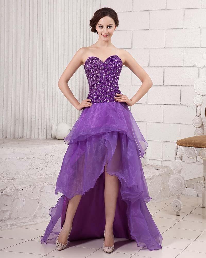 Stylish Ruffle Floor Length Beading Strapless Cathedral Train Sateen Gauze Prom Dresses