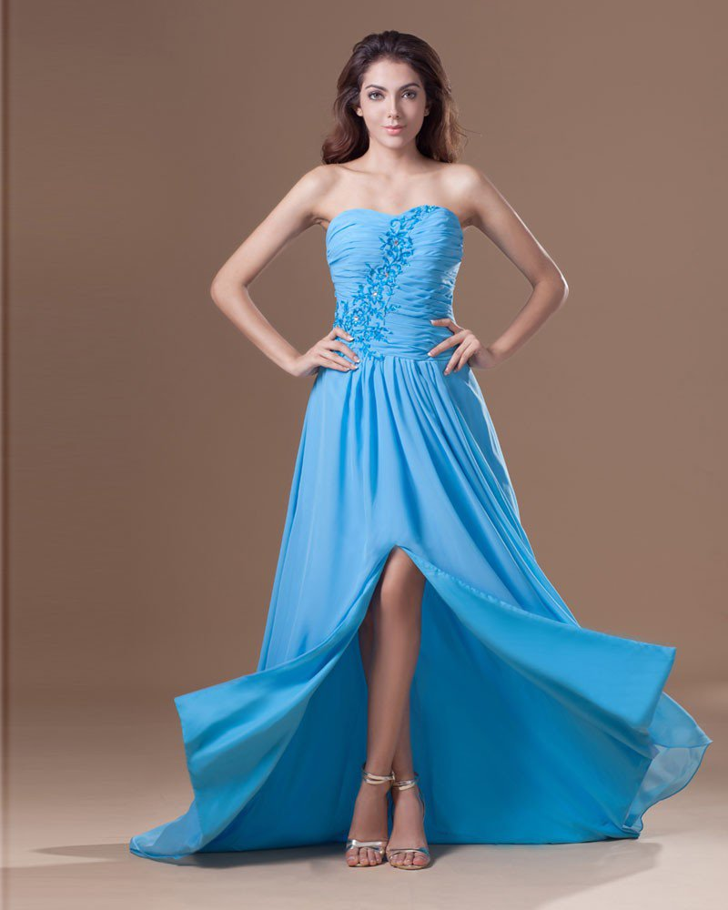Chiffon Ruffle Beading Embroidered Sweetheart Asymmetrical Length High Low Slit Prom Dress