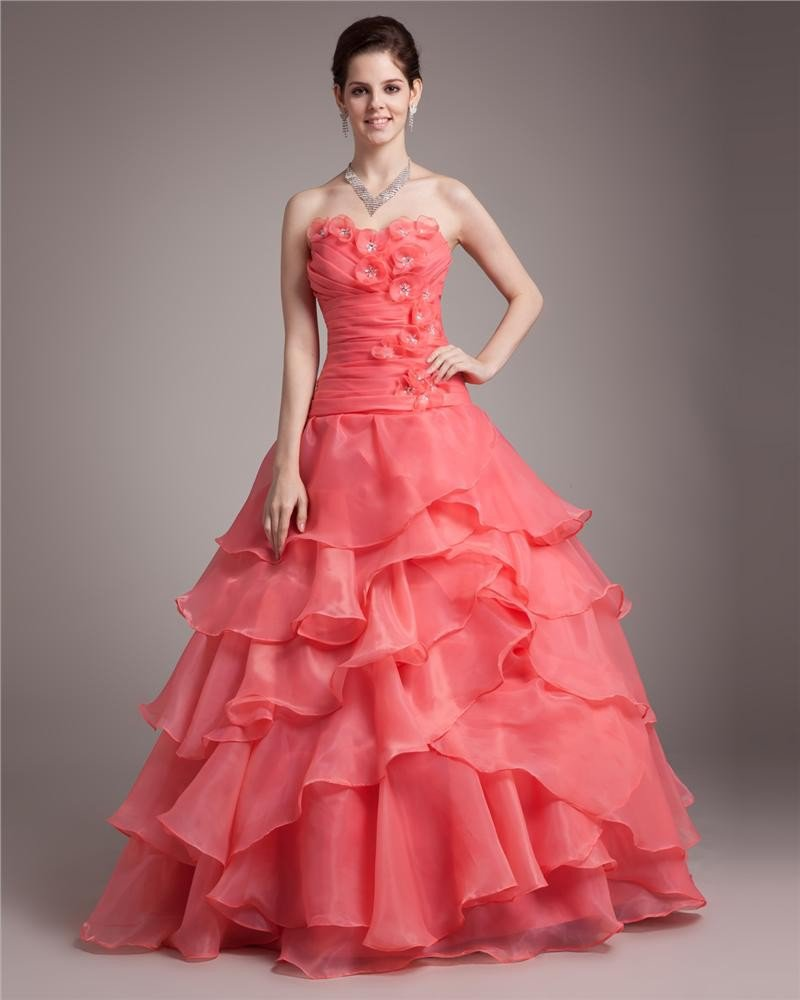 Ball Gown Sweetheart Floor Length Ruffles Applique Beading Pleated Organza Women Quinceanera Prom Dr