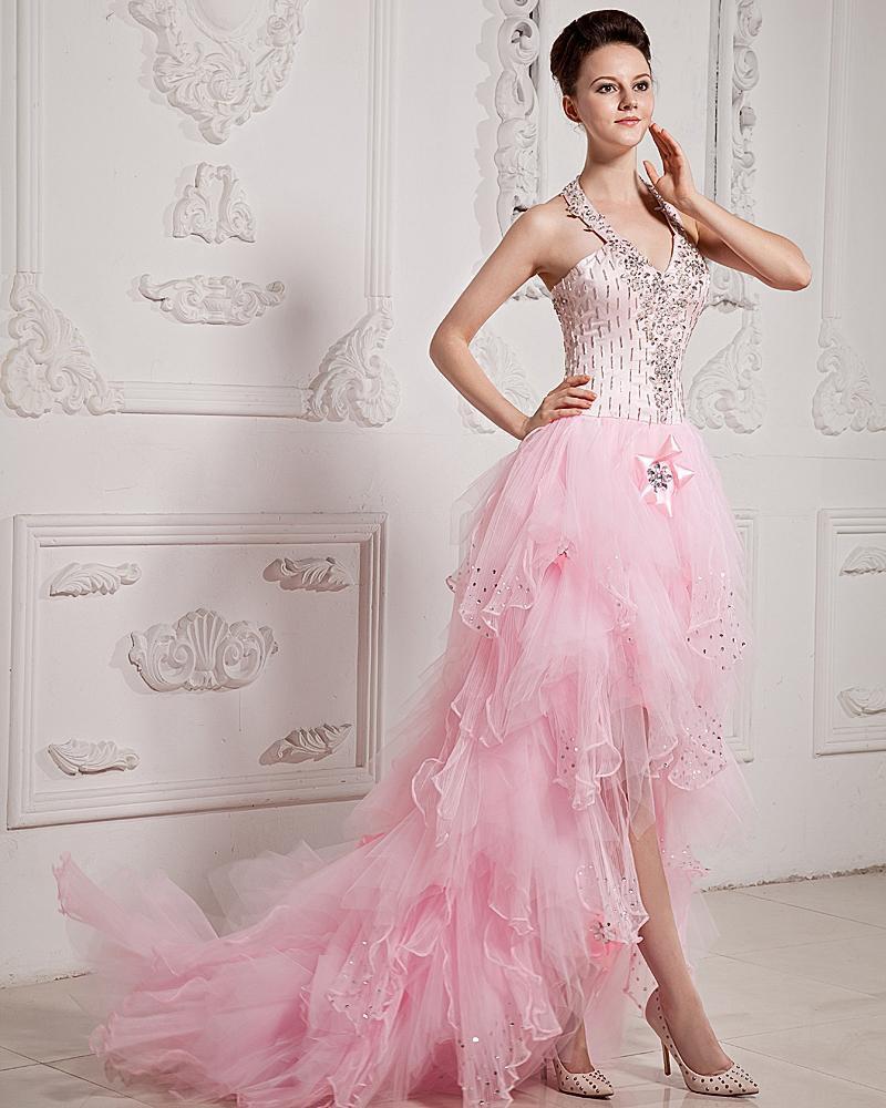 Organza Tulle Satin Ruffle Applique Beaded Halter Asymmetrical Prom Dresses