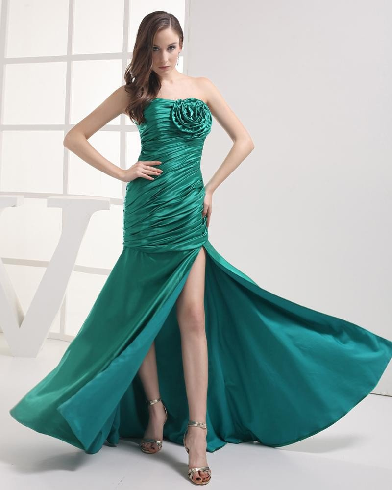 Stylish Strapless Floor Length Flower Pleated Imitation Silk Women Prom Dress