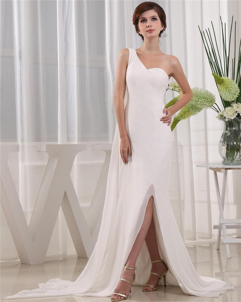 One Shoulder Sleeveless Zipper Floor Length Beading Chiffon Woman Prom Dress