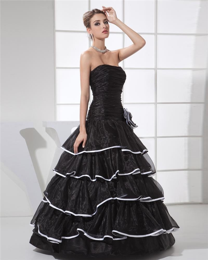 Ball Gown Strapless Pleated Layered Flower Floor Length Organza Silk Charmeuse Woman Quinceanera Pro