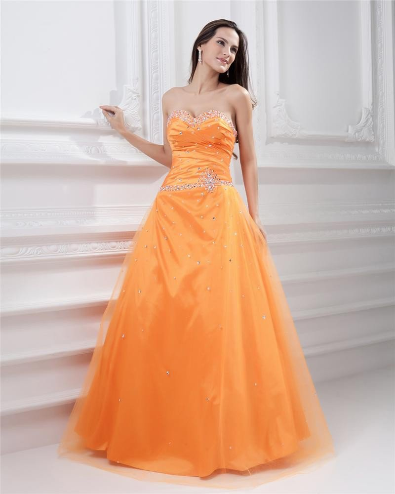 Ball Gown Yarn Satin Applique Beading Strapless Sweetheart Neckline Floor Length Evening Prom Dresse