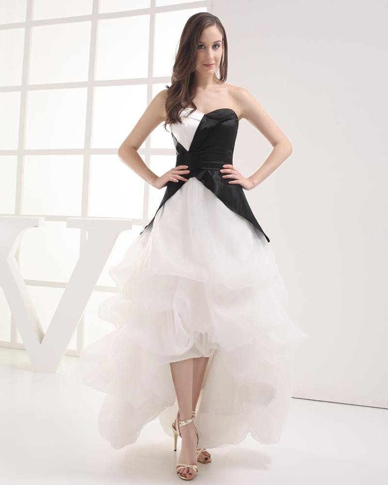 Fashion Imitation Silk Organza Ruffle Sweetheart Asymmetrical Celebrity Prom Dress