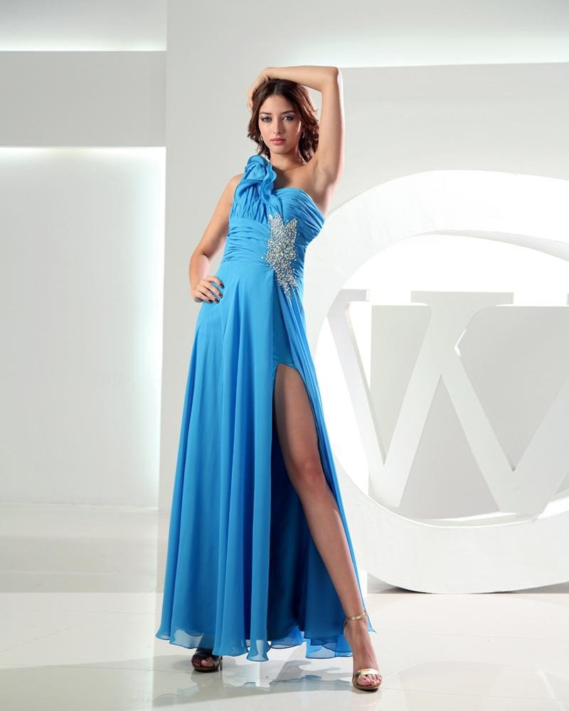One Shoulder Beading Pleated Ankle Length Chiffon Elastic Silk Like Satin Silk Woman Prom Dress