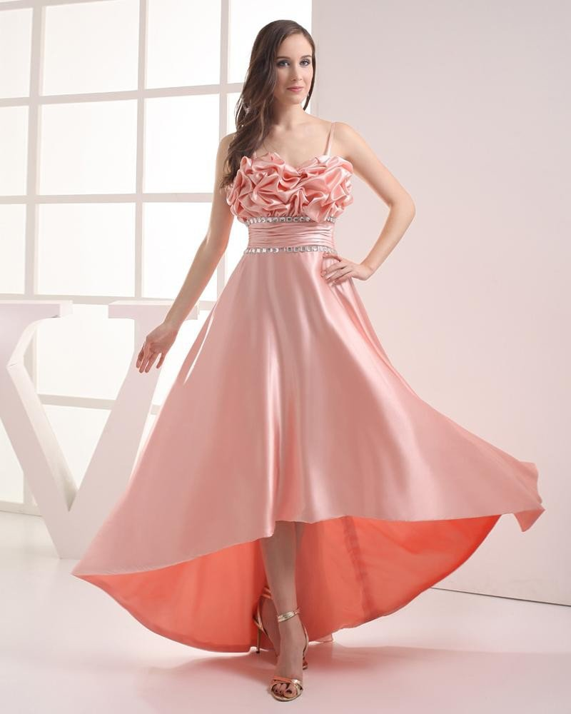 Asymmetrical Length Spaghetti Straps Beading Pleated Imitation Silk High Low Prom Dress