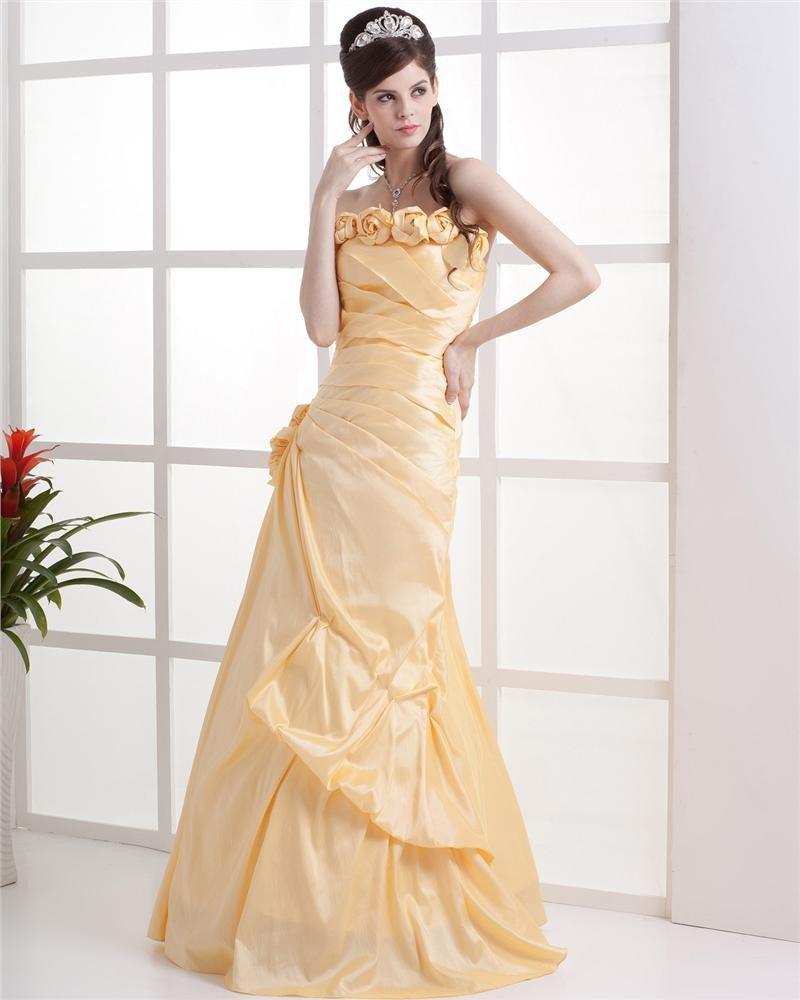 Strapless Ruffle Flower Sleeveless Floor Length Lace Up Taffeta Woman Prom Dress